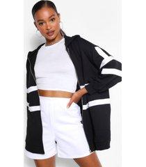 extreem oversized colour block hoodie, zwart