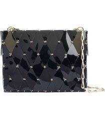 paco rabanne mirrored geometric-panel shoulder bag - blue