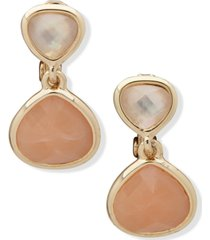 anne klein gold-tone stone & mother-of-pearl clip-on drop earrings