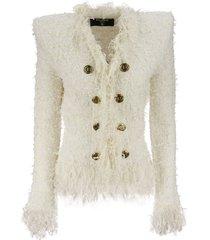 balmain white tweed jacket with fringe and gold-tone double-breasted closure