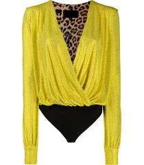 philipp plein clio stud embellished bodysuit - yellow