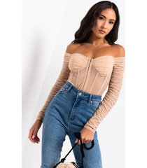 akira always and forever long sleeve mesh bodysuit
