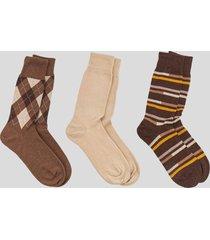 tripack calcetines algodon rayas café baziani