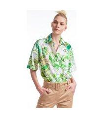 camisa manga curta de algodão estampada est toile de rio verde
