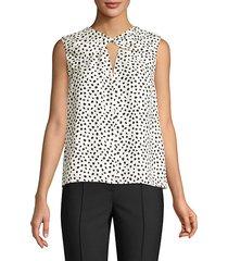 dot-print twist blouse