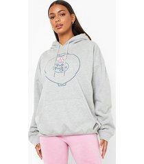 gelicenseerde oversized polly hoodie met zakken, grey marl
