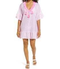 women's lilly pulitzer kipper clip dot cover-up dress, size small/medium - pink