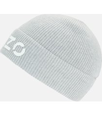 kenzo men's printed logo beanie - pale grey