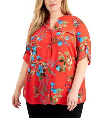 calvin klein plus size floral-print roll-tab-sleeves top