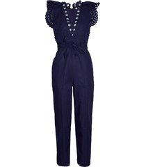 women's rebecca taylor ariana sleeveless eyelet bodice sleeveless cotton & linen jumpsuit, size 6 - blue