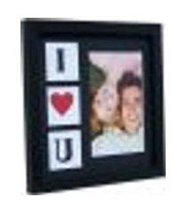 porta retrato namorados 22x22cm preto para 1 foto 10x15cm