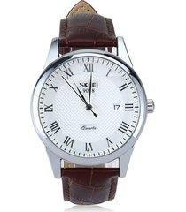 9058 skmei hombre boutique impermeable reloj de cuarzo correa de cuero de gran tamaño