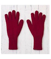100% alpaca gloves, 'crimson smoke' (peru)