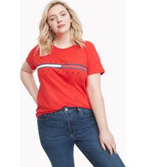 tommy hilfiger women's relaxed fit essential logo flag t-shirt racing red - xxs