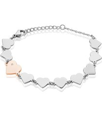bracciale in acciaio bicolore e strass con charm cuore per donna