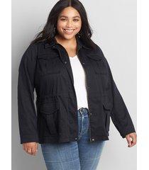 lane bryant women's utility jacket 28 black