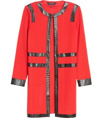 women's ming wang ribbed jacket, size large - red