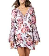 maaji rose maya bell sleeve floral cover-up dress, size medium in pink at nordstrom