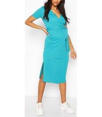 zwangerschap geribbelde jurk met strik, turquoise