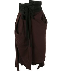 aganovich high waisted jersey skirt - brown