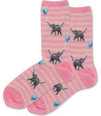 hot sox women's elephants with balloons crew socks