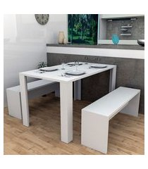conjunto de mesa de jantar retangular liv com 4 bancos | banquetas branco