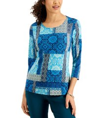 jm collection patchwork-print jacquard top, created for macy's