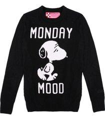 mc2 saint barth black woman sweater monday mood snoopy - special edition