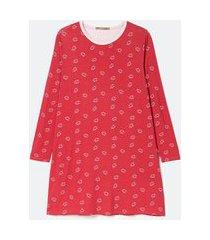 camisola manga longa em viscolycra estampa beijinhos curve & plus size | ashua curve e plus size | vermelho | gg