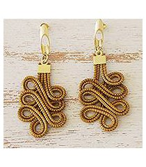 gold accent golden grass dangle earrings, 'capricious coils' (brazil)
