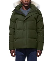men's canada goose wyndham slim fit genuine coyote fur trim down jacket, size large - green