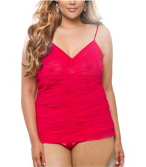 icollection women's all over rusching, figure flattering mesh and lace cami
