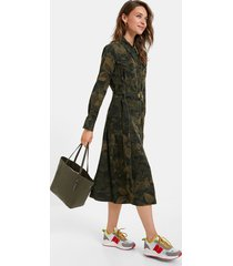 long flared shirt dress - green - 46