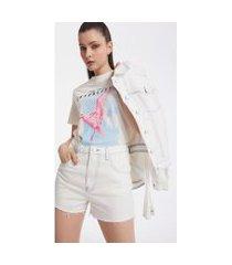 t-shirt iodice decote ribana com silk off-white