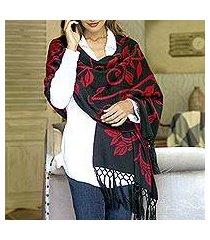 reversible alpaca blend shawl, 'scarlet leaves' (peru)