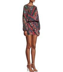 christina scarf print mini dress
