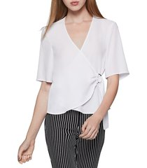 bcbgeneration women's d-ring wrap top - optic white - size xs