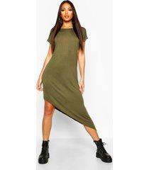 asymmetrische midi-jurk, kaki