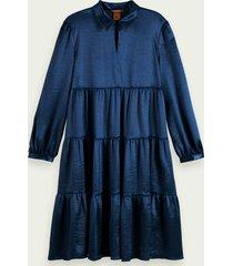 scotch & soda satijnachtige midi-jurk met strokenrok en lange mouwen