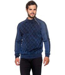 blusa officina do tricô hungria azul