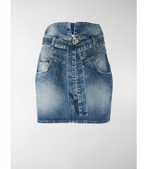 the attico stonewash-effect denim mini skirt