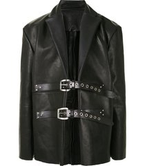 tokyo james buckle fastening leather jacket - black