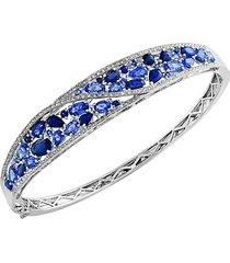 royale bleu sapphire, diamond and 14k white gold bangle bracelet