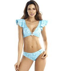 bikini crop top boleros panty reversible aquario azul 204/301acz