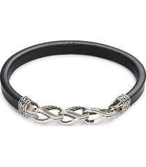 asli classic chain sterling silver & leather bracelet