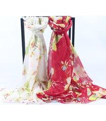 sciarpa di seta squisita traspirante di seta sottile di chiffon delle donne di modo squisito ricamo modello scialle