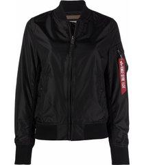 alpha industries baseball-collar track jacket - black