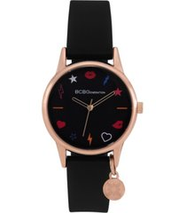bcbgeneration ladies 3 hands slim black silicone strap watch, 33 mm case