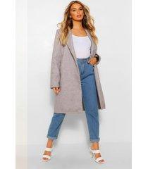 nepwollen jas met kraag, grijs