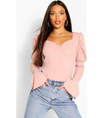 tall puff sleeve ruched front top, rose